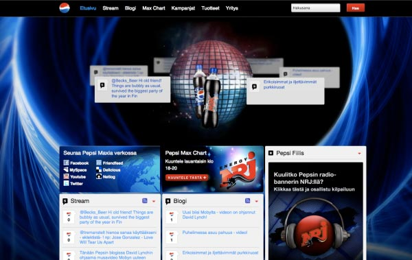 Pepsi.fi frontpage